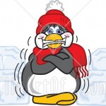 33821-Clipart-Illustration-Of-A-Cold-Penguin-Mascot-Cartoon-Character-In-A-Hat-And-Scarf-Shivering-And-Surrounded-By-Blocks-Of-Ice