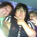 This is what 3 big girls look like in the back of a Jetta.